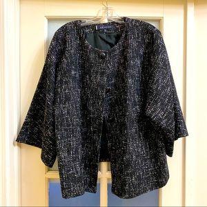 Black with white Ann Klein Suit Jacket Size 18W